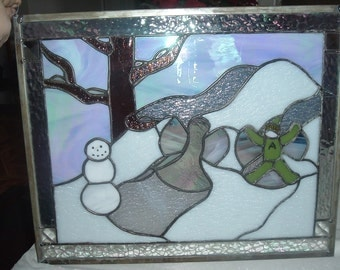 vintage leaded stain glass  wall hanging