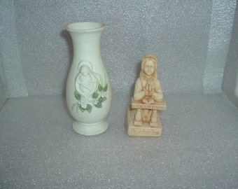 vintage vase and figure of girl in prayer
