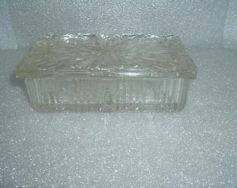 vintage depression glass card holder