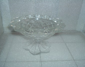 vintage glass footed candy dish