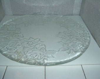 beautiful glass serving plate with flora design
