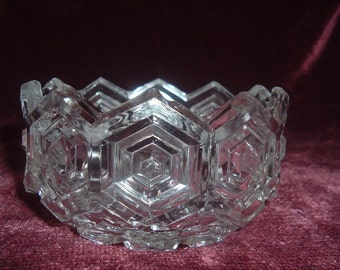 vintage clear glass diamond pattern  candy / nut dish