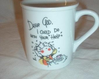 vintage dear god coffee mug 1982