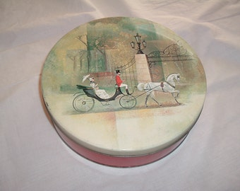 Vintage Christmas Horse Drawn Carriage Tin