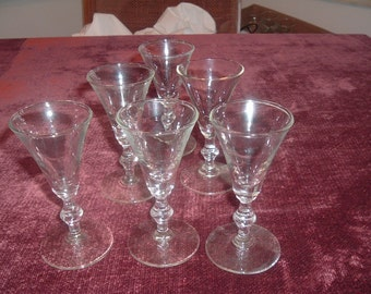 vintage stemware cordial clear glass set of 6