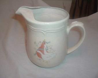 vintage blue ribbon goose pitcher