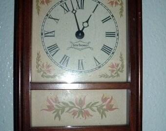 Antique Wood Frame Seth Thomas Working Wall Clock Vintage Flower Design