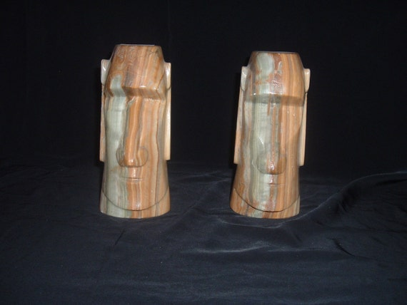 STONE Tiki Head BOOK ENDS