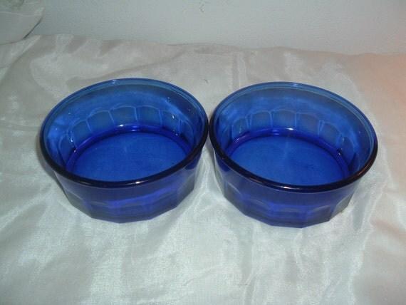 two colbalt blue bowls