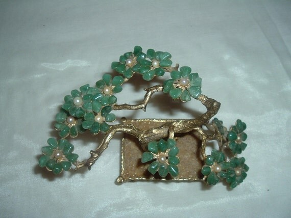 vintage swoboda jade and pearl bonsai tree