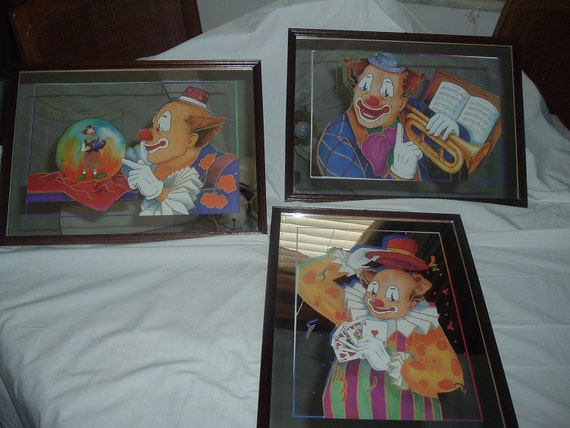 3 Vintage mirrored Clown Pictures