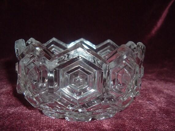 vintage clear glass diamond pattern  candy / nut dish