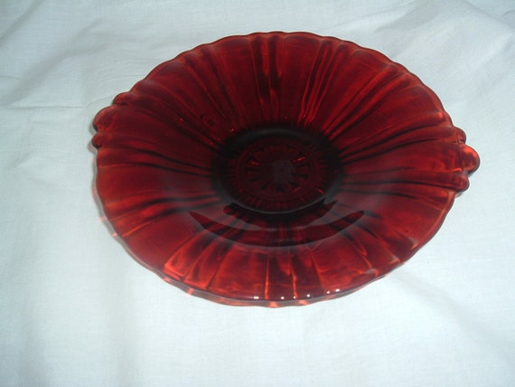 Items similar to ruby red glass serving canape plate for Canape serving dishes