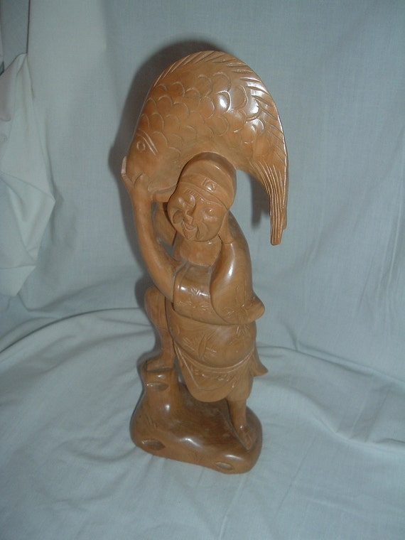 Old chinese hand carved boxwood figure