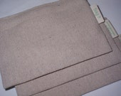 Three reusable snack bags - Plain and simple on natural unbleached cotton