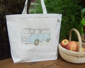 Natural cotton market tote - VW bus - Now available in FIVE colors