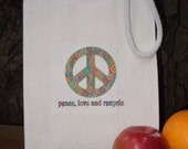 Recycled cotton lunch bag - Peace, love and recycle