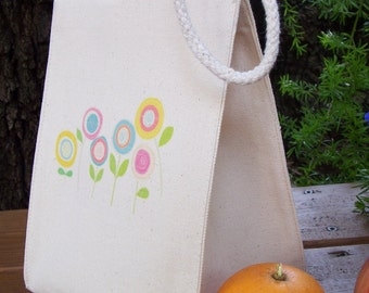 Recycled cotton lunch bag - Canvas lunch bag - Small project bag - Sunflowers - TWO CHOICES, you pick