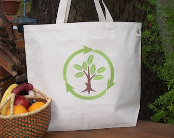 Natural cotton market tote - Recycling - YOU CHOOSE from two options
