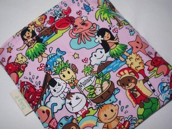 Reusable sandwich bag - Kawaii hula girl  -  REDUCED PRICE