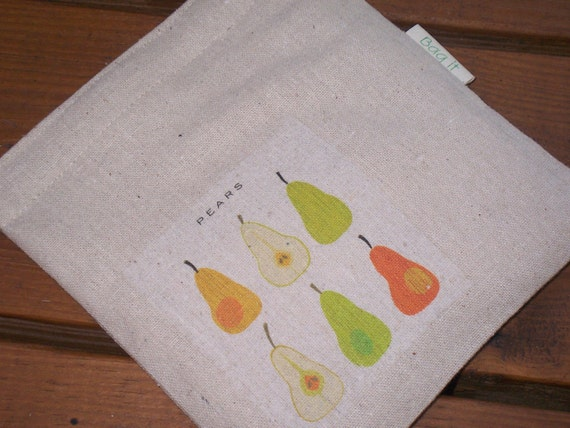 Reusable sandwich bag -Unbleached cotton sandwich bag - Ecofriendly sandwich bag - Reuse snack bag Pears on natural unbleached cotton