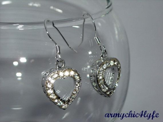 Rhinestone Heart earrings - SALE