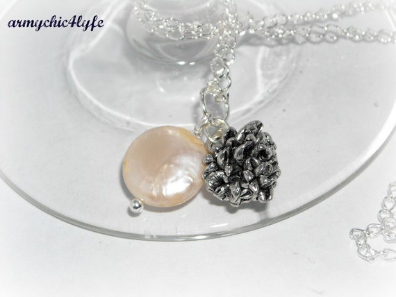 Pinecone and White Freshwater Coin Pearl necklace - FINAL SALE