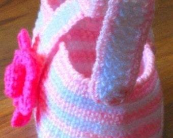 Instantly Downloadable PDF CROCHET PATTERN Toddler Flower Purse Girls Tote Handbag Shoulder Bag Digital Pattern