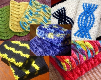Dishcloth, Washcloth Crochet Pattern E-Book, (5) Patterns Included