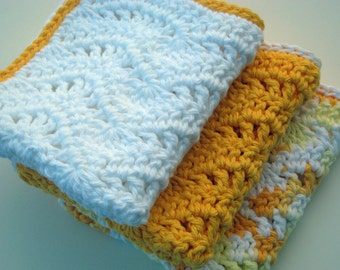 Instant Download PDF Crochet Pattern, Eyelet Waves Dishcloth Washcloth Wavy Shower Rag Dish Towel