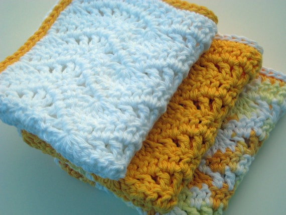 ... Crochet Pattern, Eyelet Waves Dishcloth Washcloth Wavy Shower Rag Dish