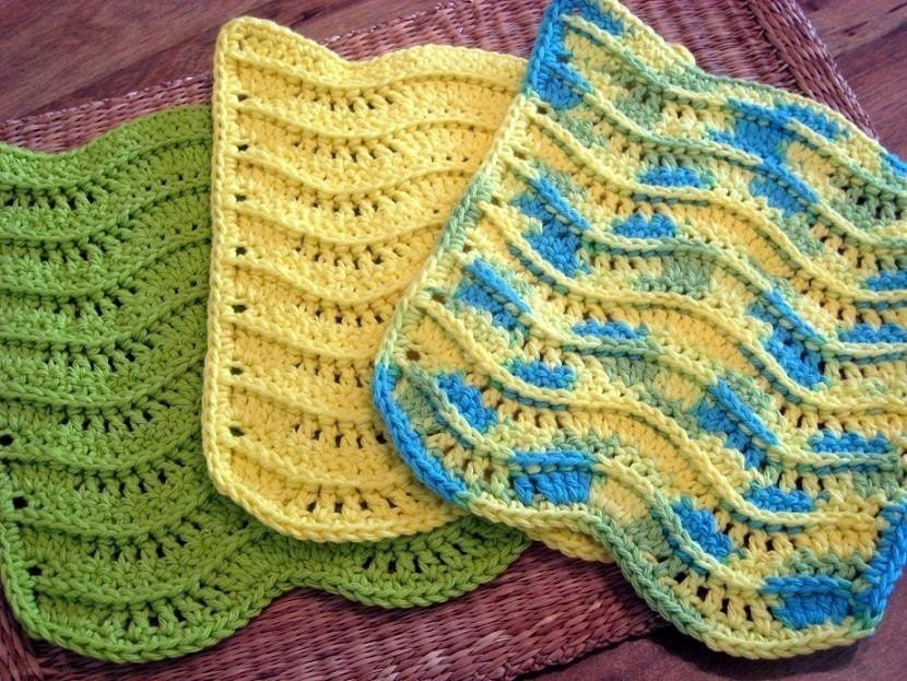 Crochet Patterns Dish Towels : PDF CROCHET PATTERN 3-d Waves Textured by MotylekPatterns on Etsy