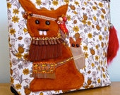 Bunny Pouch - Native American Indian - Thanksgiving - Zippered - OOAK