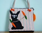 Ninja Bunny Pouch - Zippered - Handles - Handmade in USA - Unique - SUPER SALE with free domestic shipping