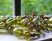 Antique Necklace Czech Translucent Green Glass Beads Pale Green Rhinestone Flower Pendant 2 Strands