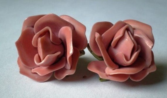 Vintage Dusty Rose Celluloid Earrings Just Darling