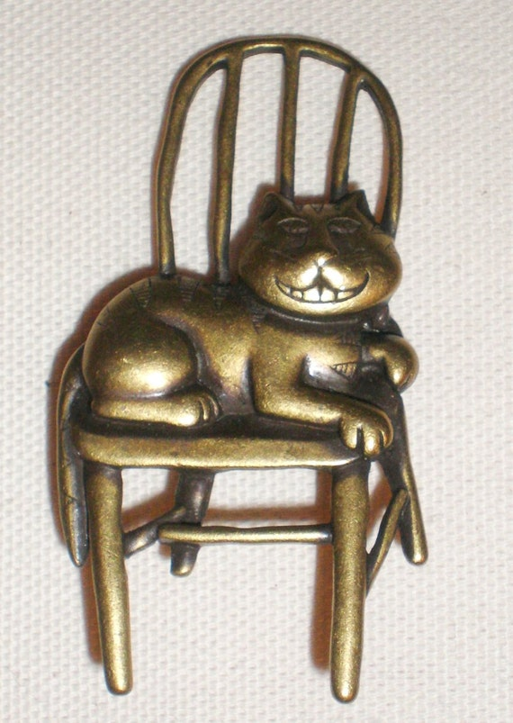Vintage Brooch Signed JJ All Brass Cheshire Cat Sitting On A Chair Highly Collectible Adorable