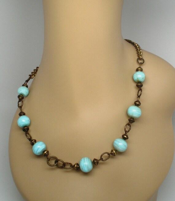 Vintage Necklace Brass an Semi Precious Aqua Blue Stone 7 14MM Beads Valentine Special