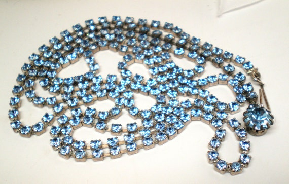 Vintage Antique Necklace 43 in long 215 Blue Pronged Swarovski Rhinestones Lariat On Sale Was 42.00 Now