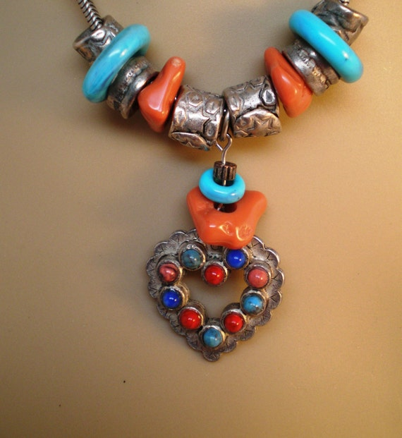 Vintage Necklace Turquoise Red Coral Serpentine Chain Chunk Tibet Silver Heart Glass Beads Primitive Tribal