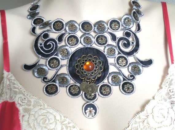 Necklace Waterfall Silver Black Bronze Flowers Swirls Metal Filigree Stampings Copper Glass Beads Cleopatra Statement