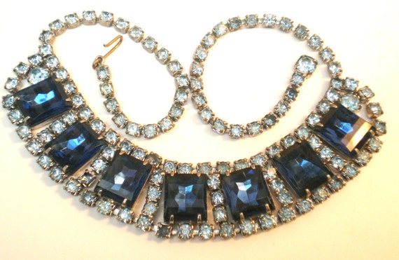 Antique Vintage Necklace Choker 20s Art Deco 7 Huge Square Dark Blue Faceted Rhinestones Surrounded 127