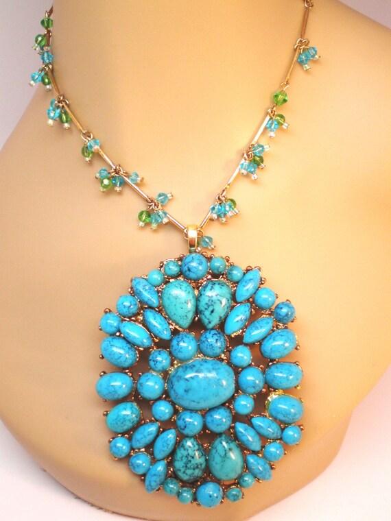 Vintage Necklace Lg Faux Turquoise Chunky  70s Statement BoHo Woodstock