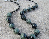 Necklace and Earring Set with Kambaba Jasper and Glass