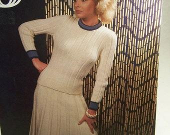 Vintage Sirdar Knitting Pattern Top and Skirt