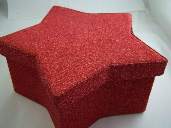 Sparkle Metallic Red Foam Star Shaped Paper Box