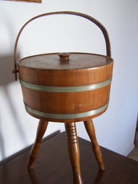 Vintage Round Wood Sewing Box With Turned Legs