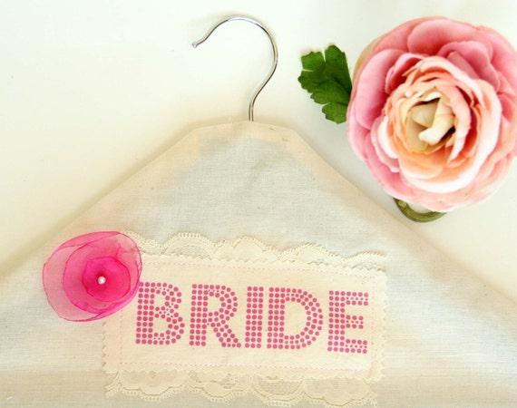 Bridal Wedding Hanger - Lovely Wedding Dress Fabric Hanger cover & Wooden Hanger - First to Etsy - Includes hanger