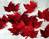 Maple Leaves fusible  Fabric Appliques Die Cut Shapes in Red Marble set of 10