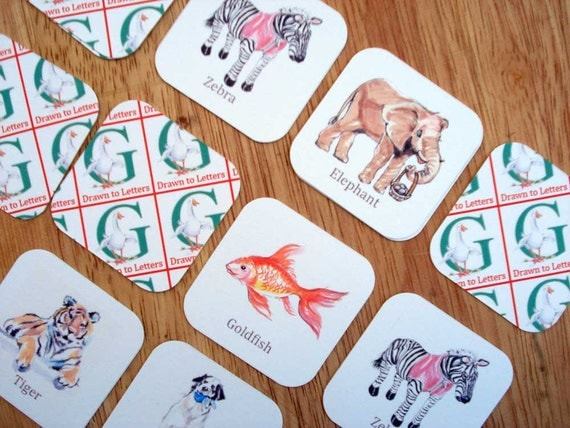 Memory Match  Game Animals Illustration Upcycled  Green Education Toy Kids Party Favors Stocking Stuffer  Teacher